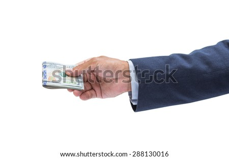 Businessman hand with money, United stage dollar bill isolated on white background with clipping path - stock photo