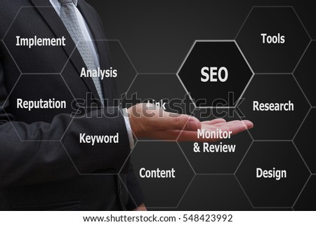 businessman hand with virtual panel of SEO Search optimization , Business technology concept