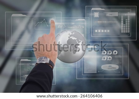 Businessman hand with watch pointing something against business interface