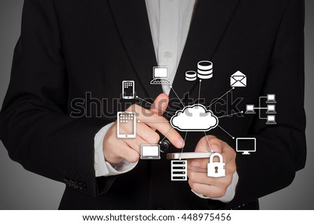 Businessman hand working with a Cloud Computing diagram - stock photo