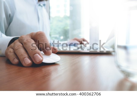 businessman hand working with modern technology as business strategy concept - stock photo