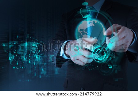 businessman hand working with new modern technology as concept  - stock photo