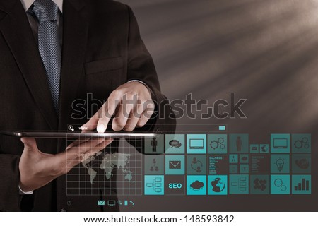 businessman hand working with www. written in search bar on modern computer interface - stock photo