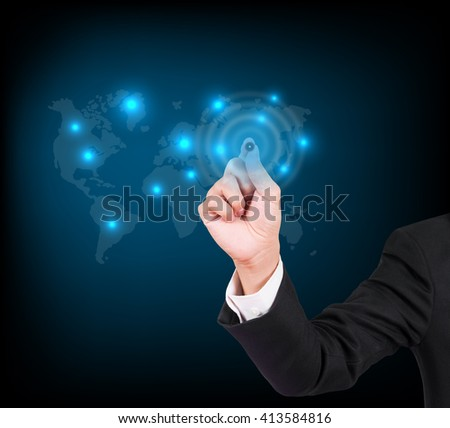 Businessman hand writing on a touch screen interface