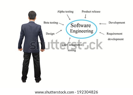 Businessman hand writing Software Engineering concept.  - stock photo