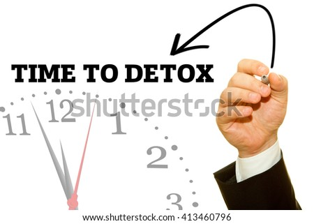 Businessman hand writing TIME TO DETOX message on a transparent wipe board.
