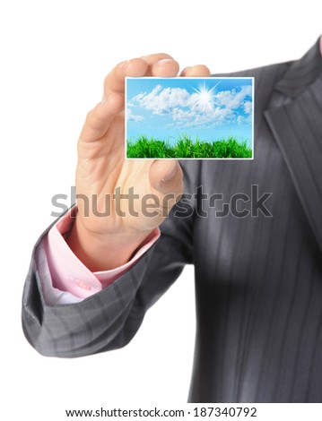 Businessman handing a card blank. Isolated on white background