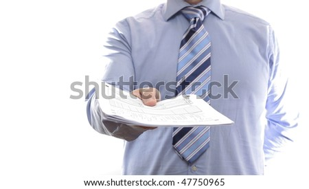 Businessman handing documents. Isolated on white background