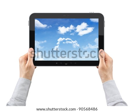 Businessman hands are holding the contemporary digital tablet with cloudy sky on the screen. Concept image on cloud-computing theme. Isolated on white. - stock photo