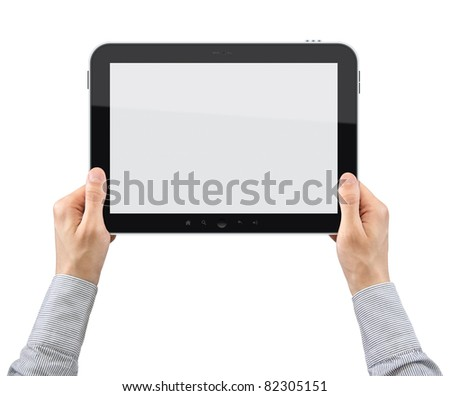 Businessman hands are holding the touch screen device. Isolated on white.