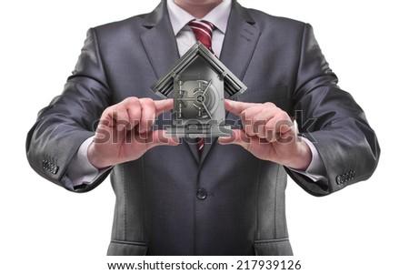 businessman hands holding house Isolated on white background  - stock photo