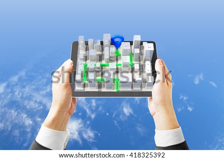 Businessman hands holding mobile device with 3D navigator on sky background, 3D Rendering - stock photo