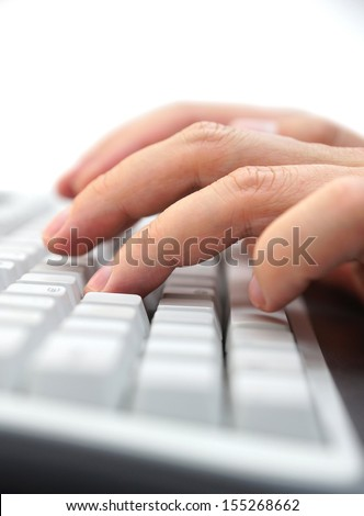 businessman hands typing on keyboard - stock photo