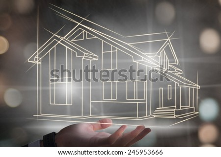 Businessman hands with new house project