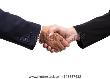 Businessman handshake isolated on white background - stock photo