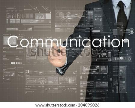 businessman handwriting Communication on a transparent board - stock photo