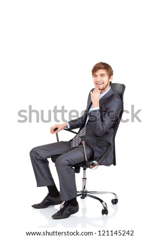 businessman happy smile sitting in chair, business man hold hand on chin wear elegant suit and tie isolated over white background - stock photo