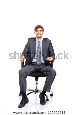 businessman happy smile sitting in chair, business man wear elegant suit and tie isolated over white background - stock photo
