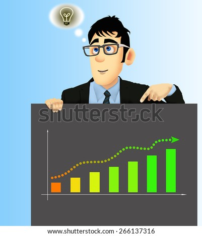 Businessman has an idea, holding a black cardboard with one hand - stock photo