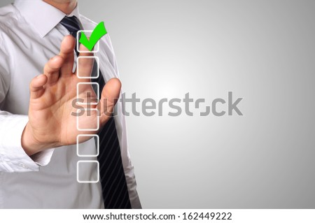 businessman has choose one of the six options - stock photo