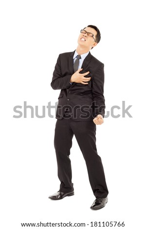 Businessman having a heart attack  - stock photo