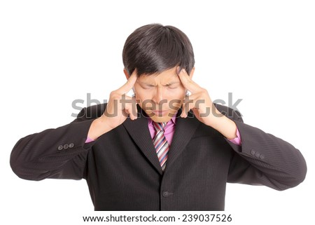Businessman headache after finished meeting  - stock photo