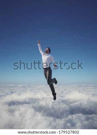 Businessman hero flying over clouds - stock photo