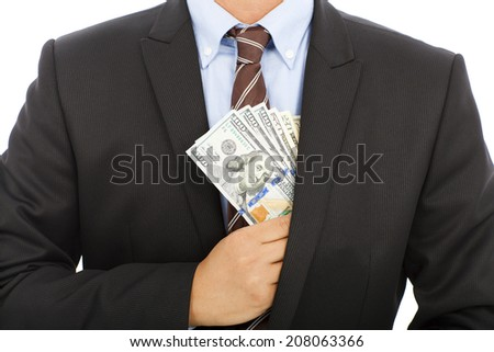 businessman hide money in the pocket with white background - stock photo