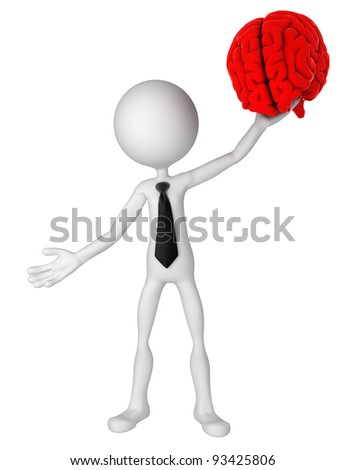 Businessman hold brain. Isolated - stock photo