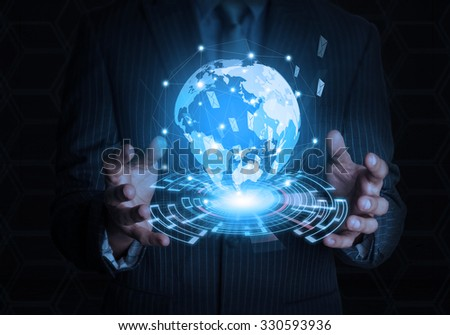 businessman hold business world with 2 hand