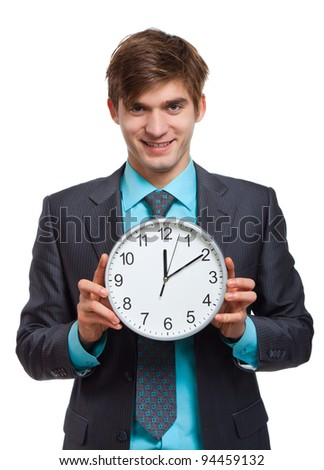 businessman hold clock, handsome young business man happy smile wear elegant suit and tie isolated over white background - stock photo