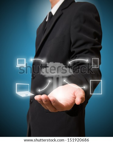 Businessman hold cloud computing - stock photo