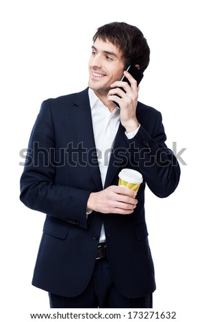 businessman hold coffee cup - stock photo