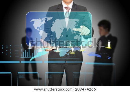 businessman hold digital world map with connection of business - stock photo