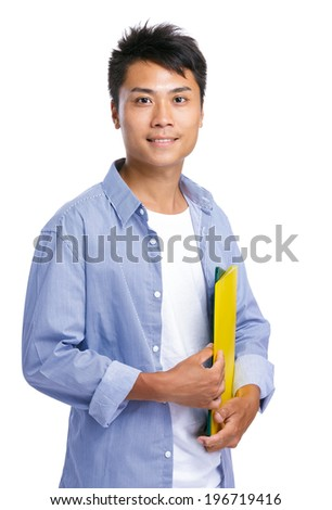 Businessman hold file pad - stock photo