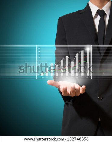 businessman hold graph improve suggest more - stock photo