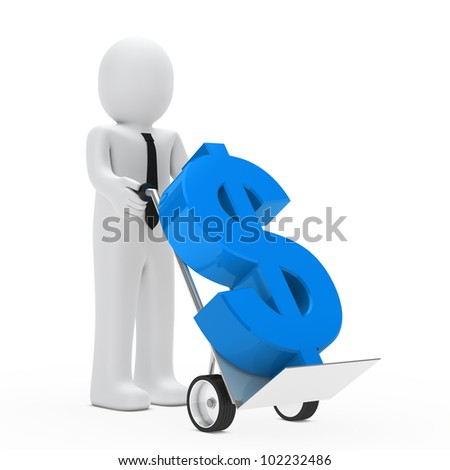 businessman hold hand truck with blue dollar - stock photo