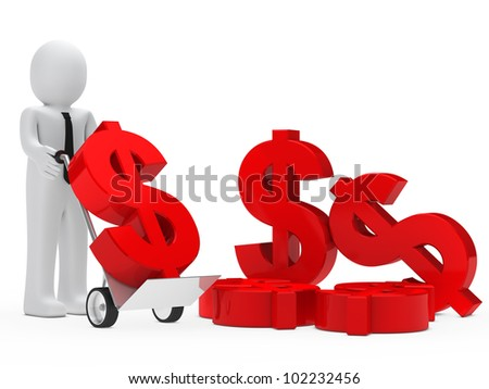 businessman hold hand truck with red dollar - stock photo
