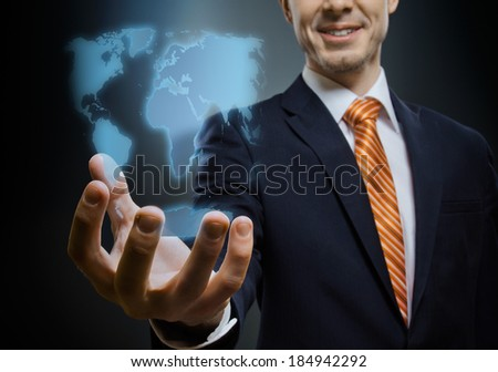 businessman hold  reach out hand , on dark blue background,  business concept - stock photo
