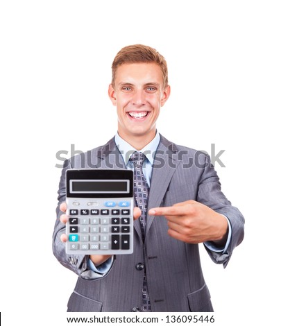 businessman hold show calculator point finger on it, handsome young excited business man standing smile looking at camera, wear elegant shirt and tie isolated over white background - stock photo