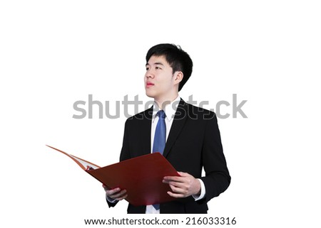 Businessman hold the files and checking data - stock photo
