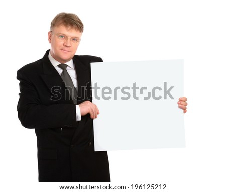 Businessman holding a banner ad isolated on white background - stock photo