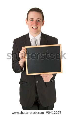 Businessman holding a black board Isolated on white background