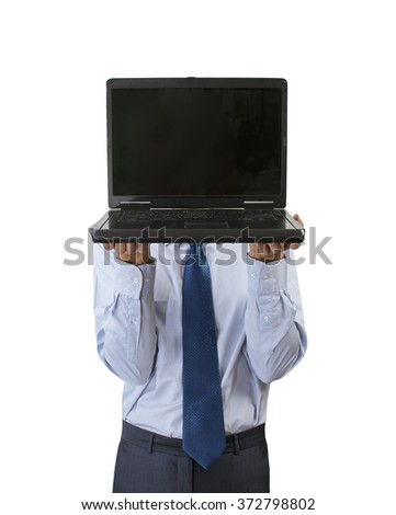 businessman holding a black laptop instead of a head - stock photo