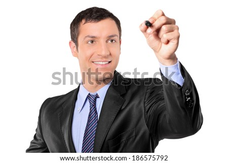Businessman holding a black pen isolated on white background