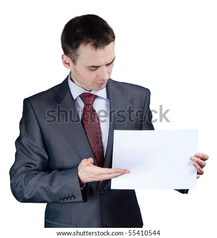 businessman holding a blank banner - stock photo