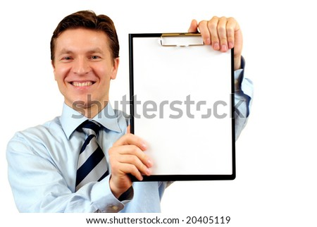Businessman holding a blank clipboard, clipping path included