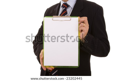 businessman holding a blank clipboard (isolated on white) - stock photo