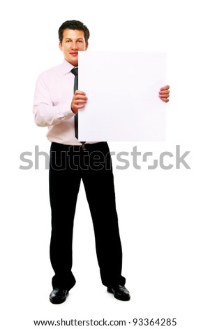 Businessman holding a blank, isolated on white background - stock photo