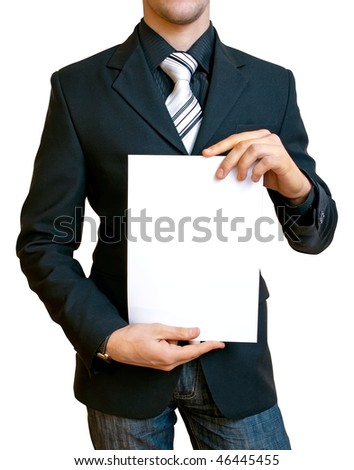 businessman holding a blank sheet of paper